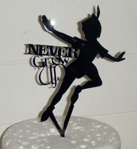 Peter Pan Never Grow Up Silhouette Cake Topper