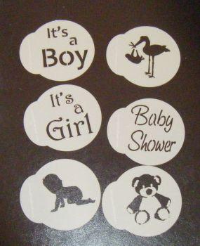 6 x Baby Shower cupcake Stencils