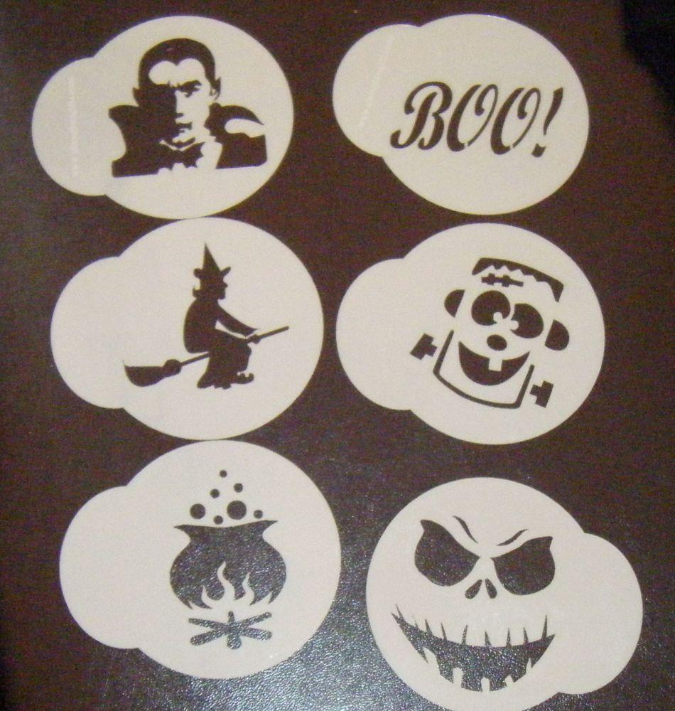 6 x Halloween 2 cupcake Stencils