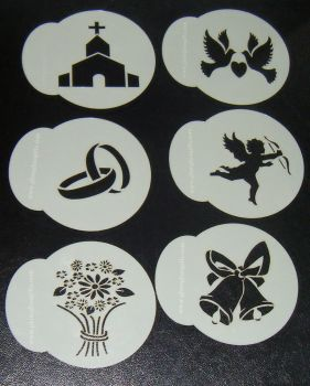 6 x Wedding designs cupcake Stencils
