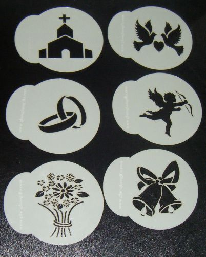 6 x Wedding designs 3 cupcake Stencils