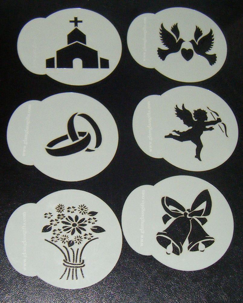 6 x Wedding designs 3 cupcake Stencils