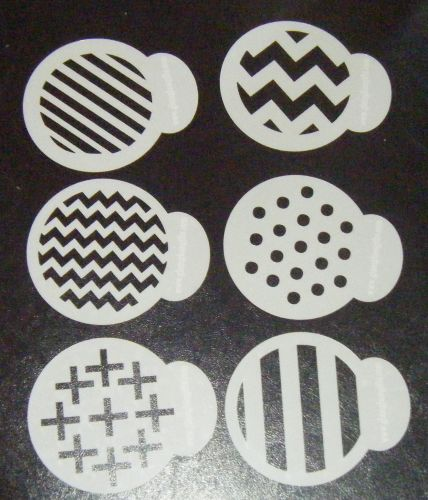 6 x Funky Patterns designs cupcake Stencils