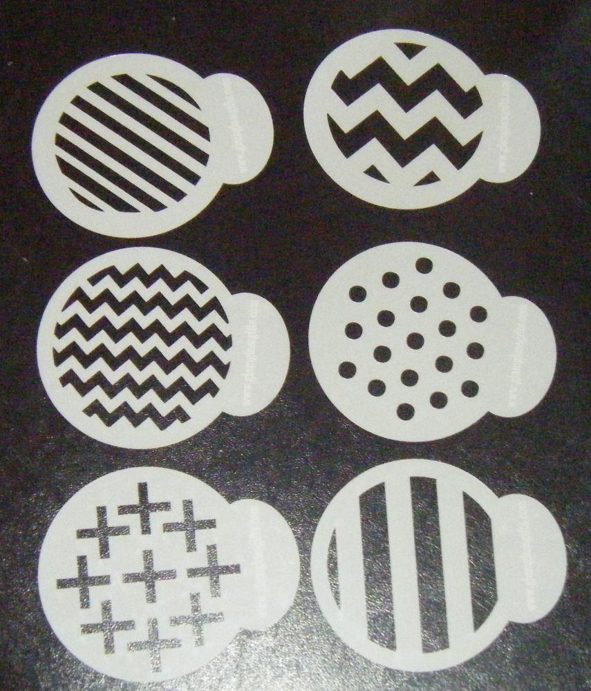 6 x Funky Patterns designs cupcake Stencils