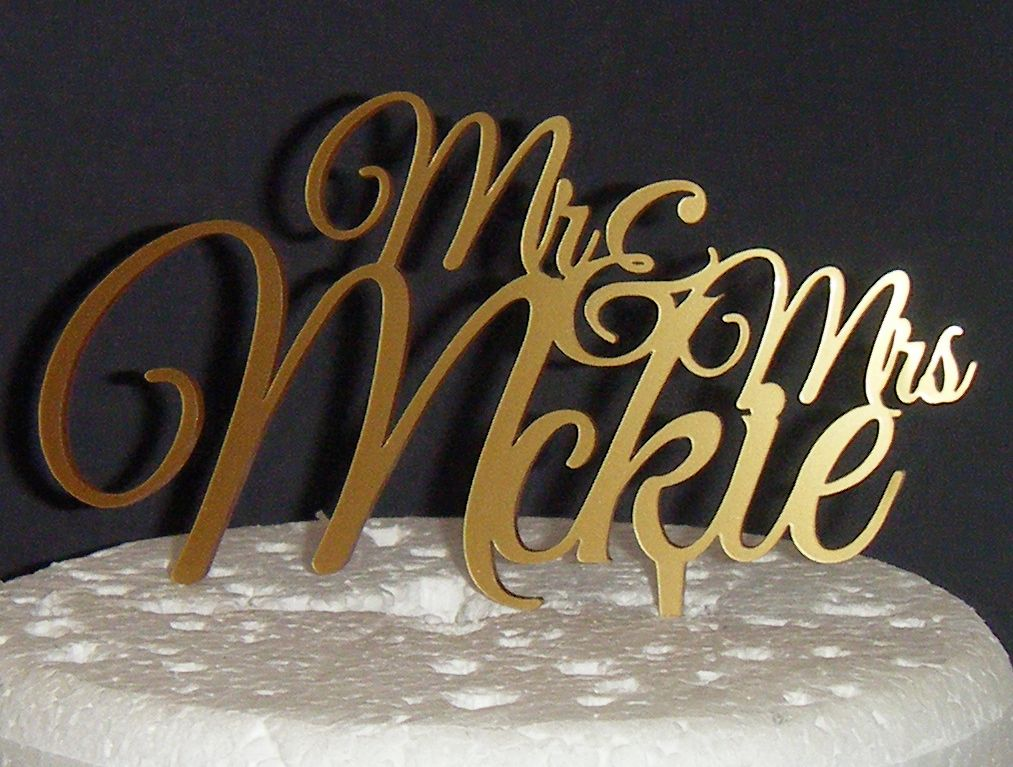 Mrs + Mr Name Great Vibes Cake Topper