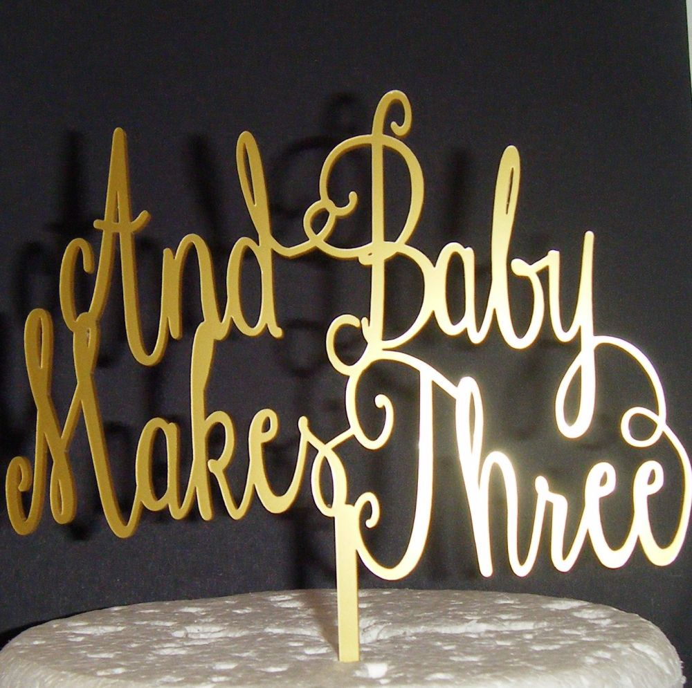And Baby Makes Three Cake Topper