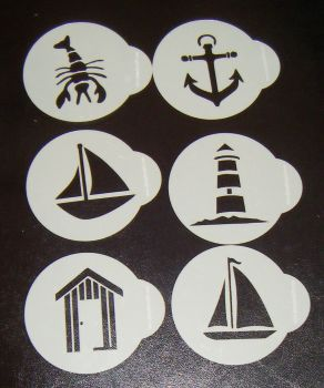 6 x Seaside designs cupcake Stencils