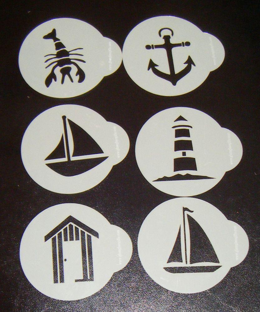 6 x Seaside designs cupcake Stencils