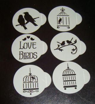 6 x Love Birds designs cupcake Stencils