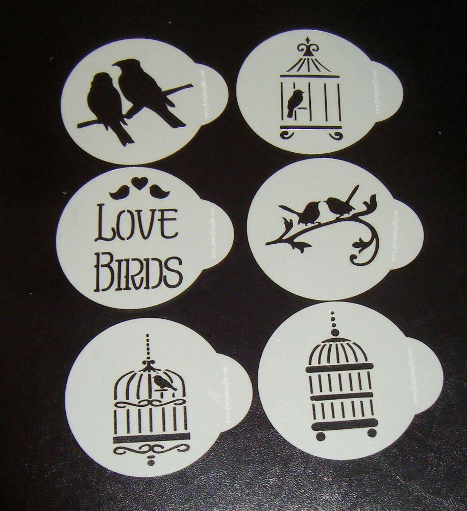 6 x Love Birds designs cupcake Stencils