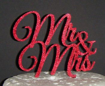 Mr + Mrs Cake Topper  style 2  (or same sex)