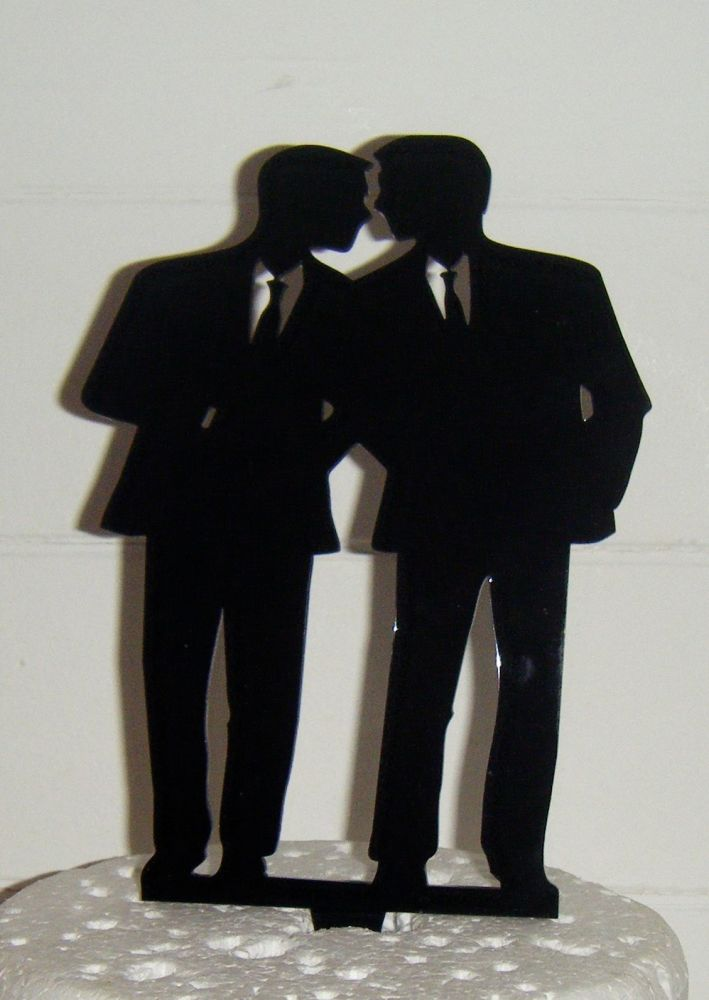 Gay Wedding Silhouette Cake Topper