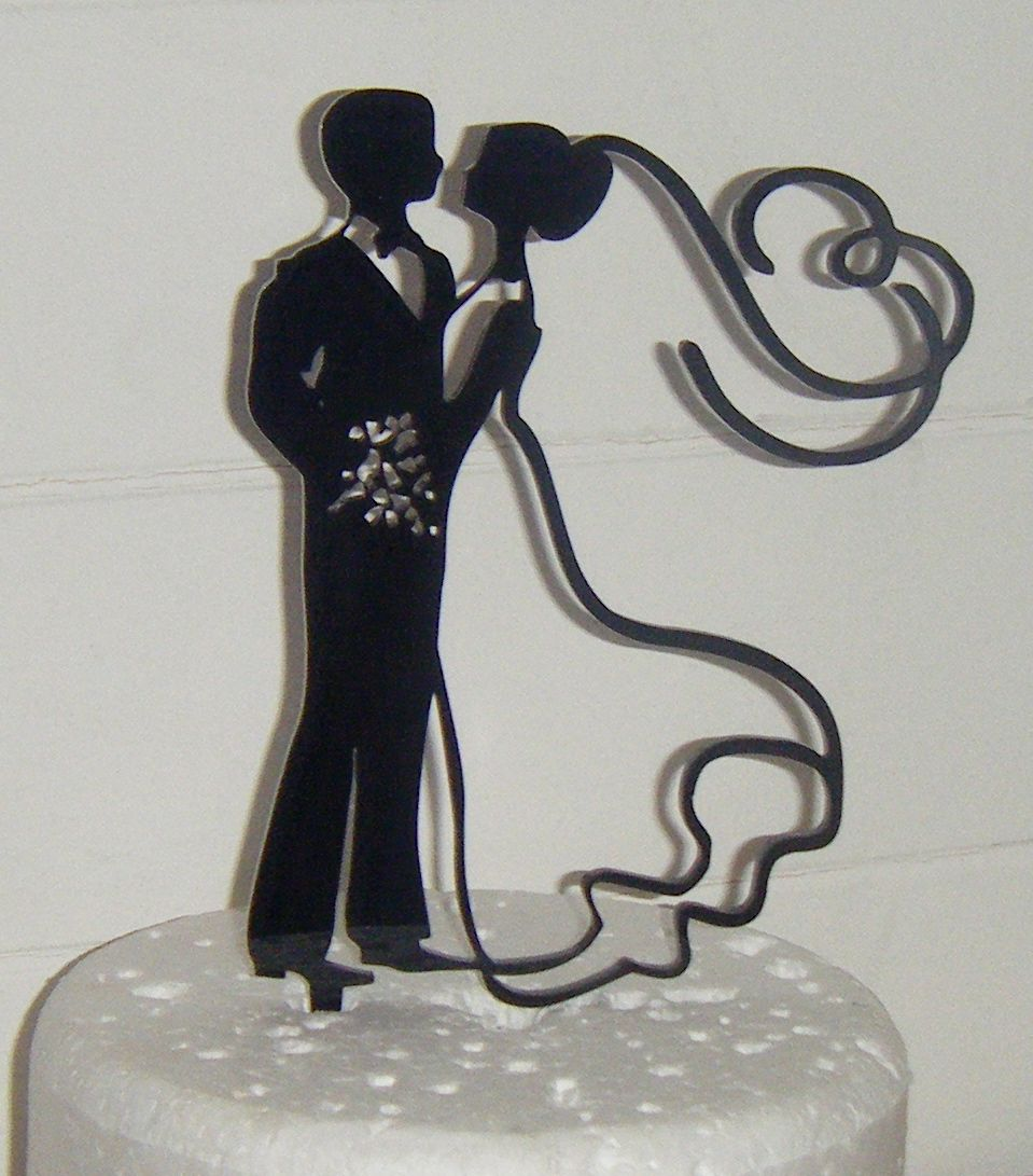 Wedding couple Silhouette Cake Topper