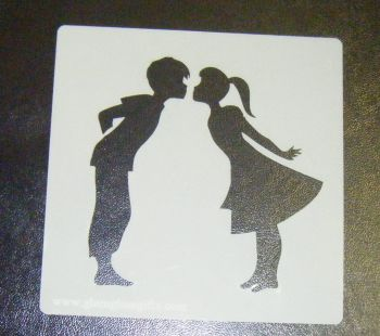 Boy and Girl kissing Cake decorating stencil set Airbrush Mylar Polyester Film