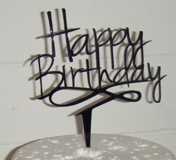 Happy Birthday Cake Topper 2 swirl base