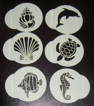 6 x Sea Animal Designs Cupcake Stencils