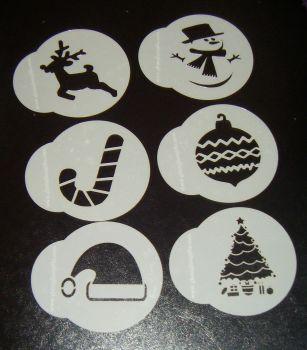 6 x Christmas designs cupcake Stencils