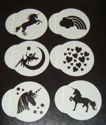 6 x Unicorn fanasty designs cupcake Stencils