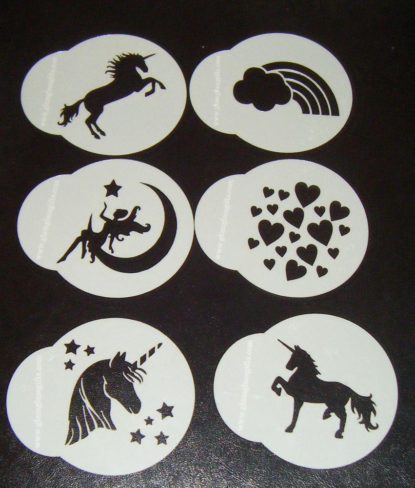 6 x Unicorn fanasty designs cupcake Stencils