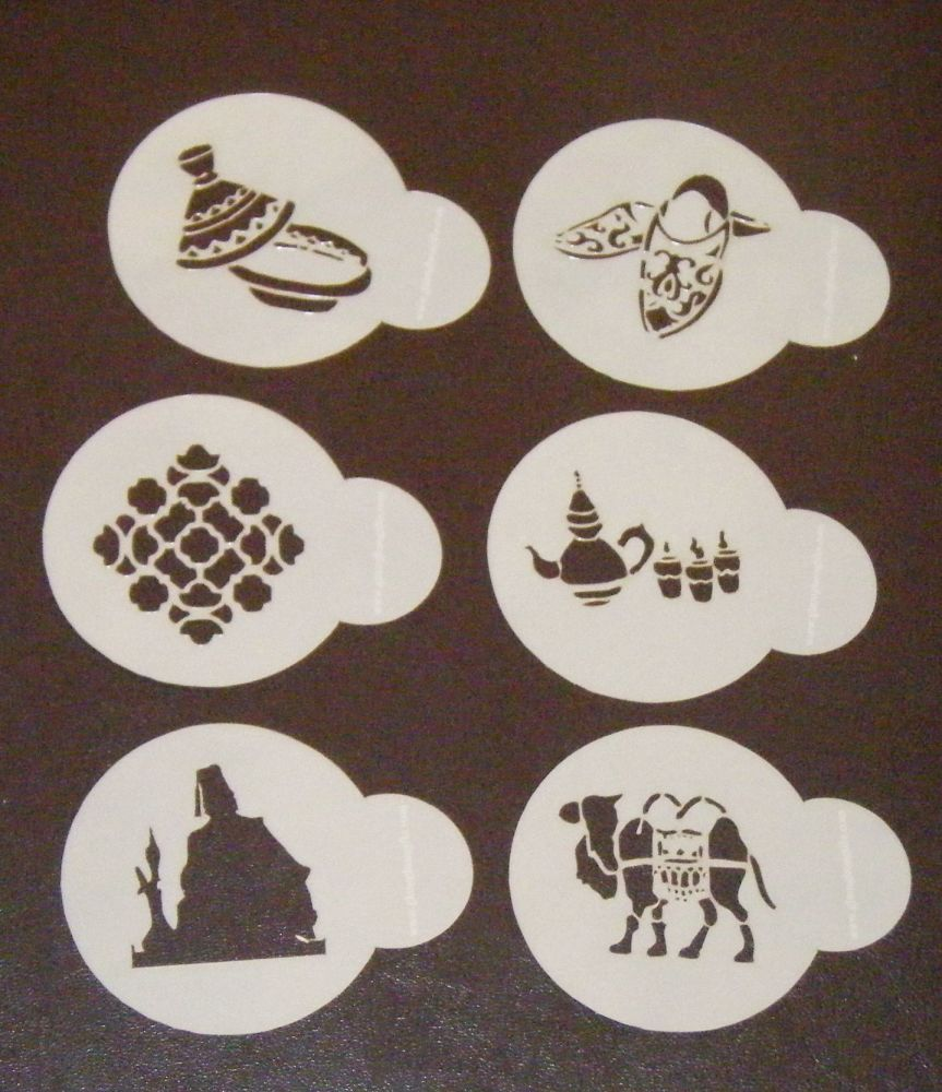 6 x Moroccan Designs Cupcake Stencils