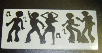 70's Disco dancers Cake decorating stencil