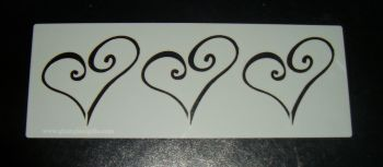 3 Swirl Hearts Cake decorating stencil Airbrush Mylar Polyester Film