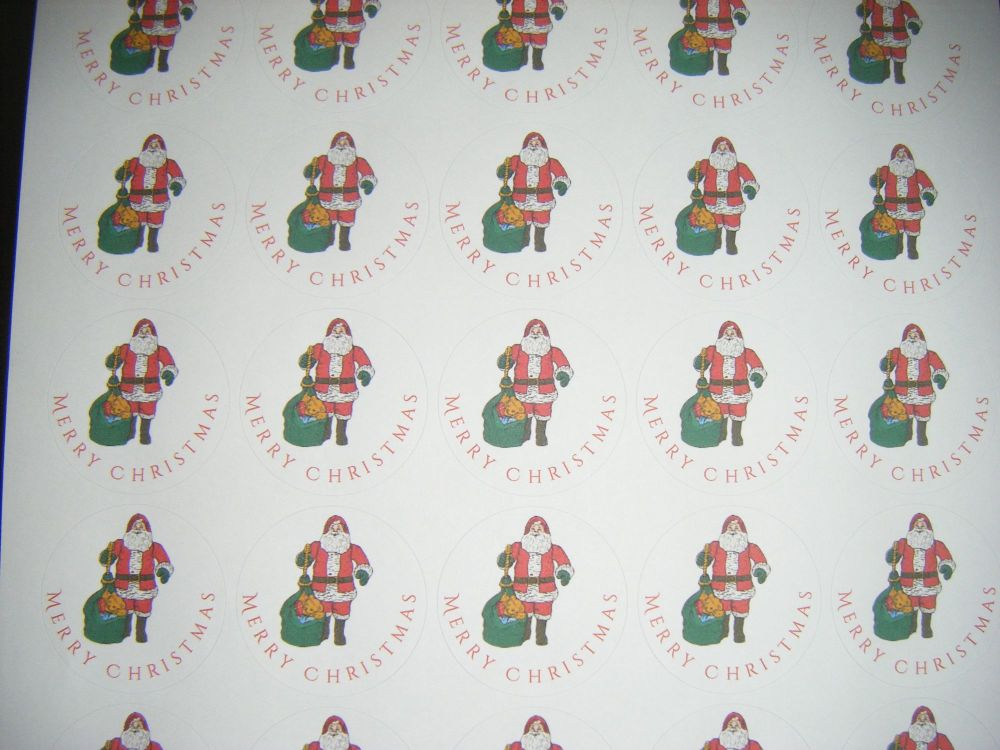 A4 Sheet of Round Merry Christmas Father Christmas Stickers