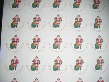 Sheet of Round Merry Christmas Father Christmas Stickers A4