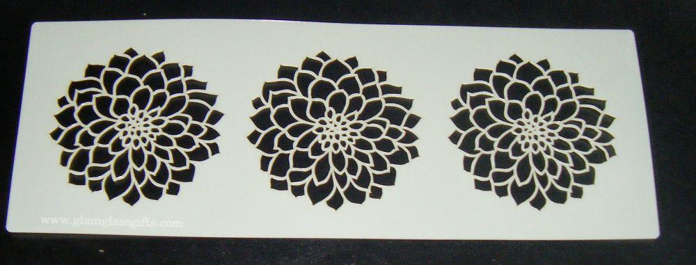 3 chrysanthemum flowers Cake decorating stencil Airbrush Mylar Polyester Fi