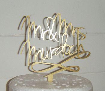 Mr + Mrs Name swirl based Cake Topper
