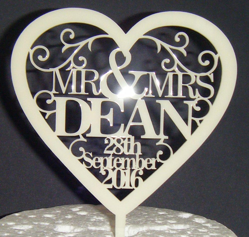 Mrs + Mr Name Date Heart swirls Cake Topper