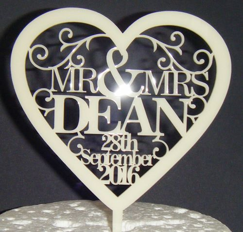 Mrs + Mr Name Date Heart swirls Cake Topper