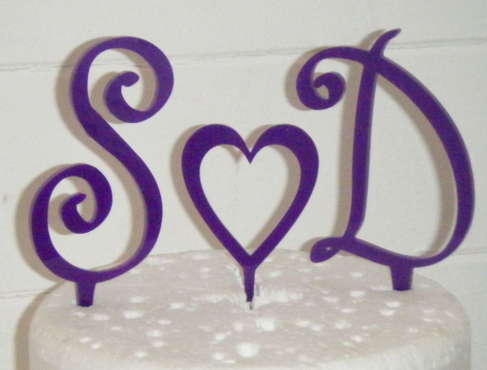 Fancy with Heart  Initials Letters Topper