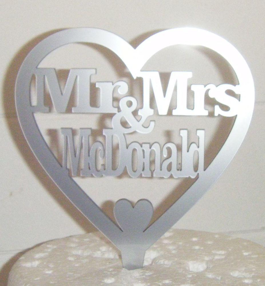 Mrs + Mr Name Heart  Cake Topper