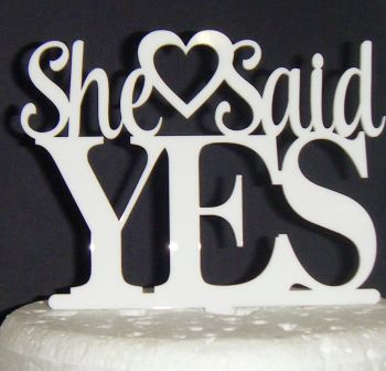 She said Yes with Heart Cake Topper