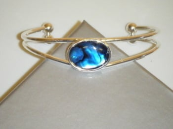 Blue Abalone Shell Silver Plated Cuff Bangle Bracelet