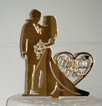 Mr & Mrs Wedding couple Silhouette Cake Topper