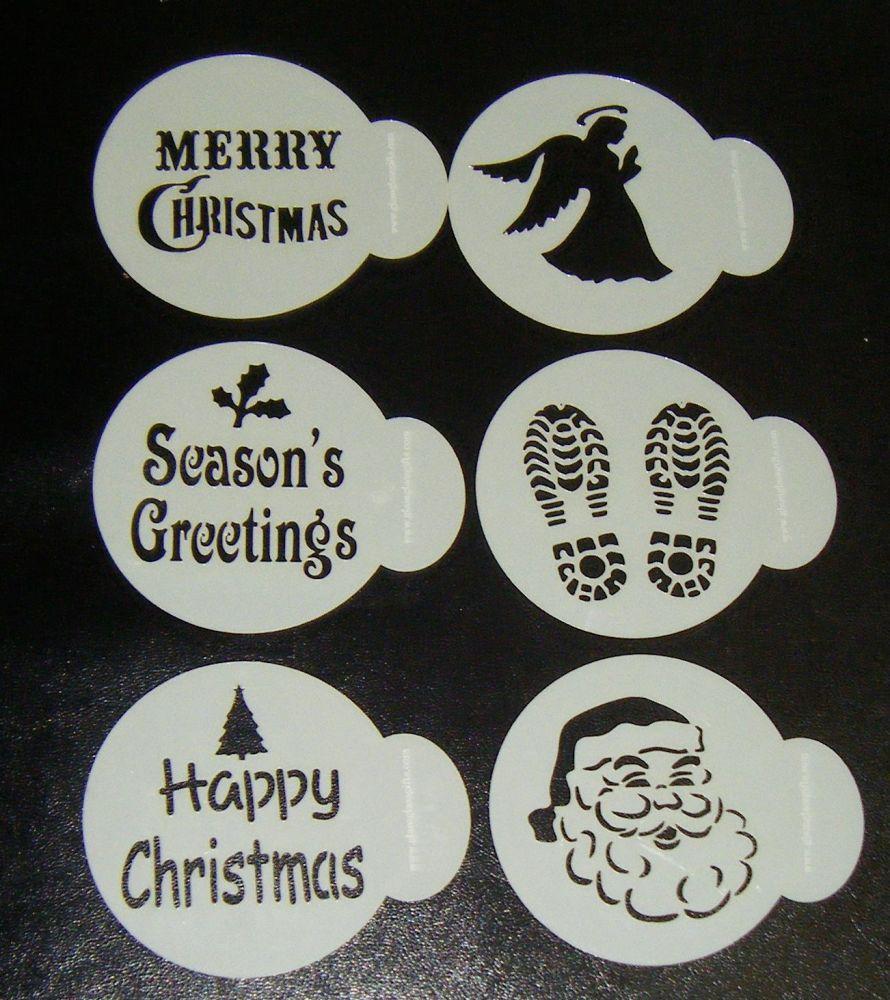 6 x Christmas Designs Cupcake Stencils Set 2