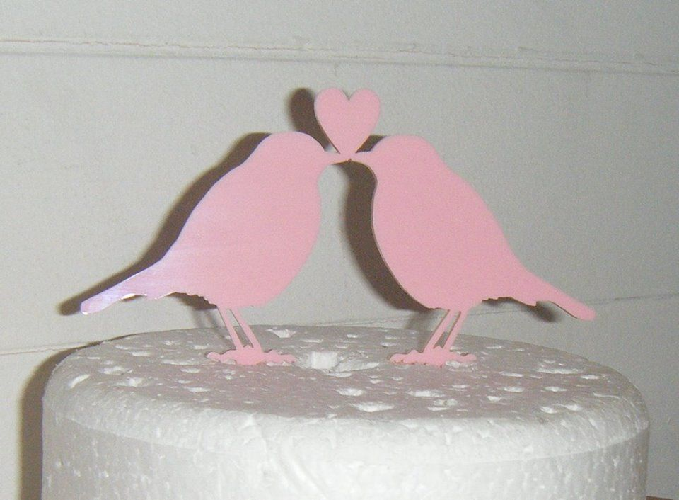 Love birds with Heart Silhouette Cake Topper