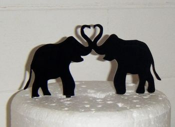 Elephant couple Silhouette Cake Topper