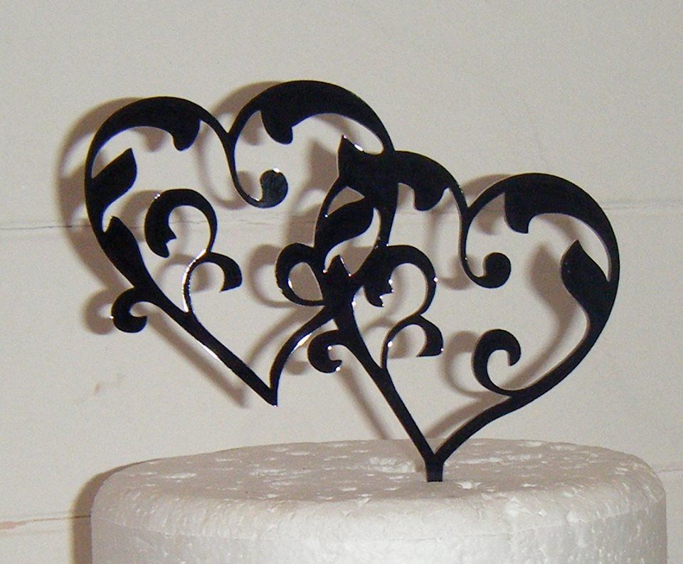 Entwined Hearts 2 Silhouette Cake Topper