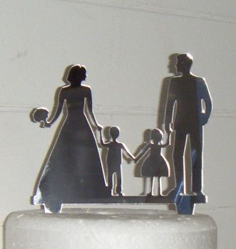 Wedding couple with boy and girl Silhouette Cake Topper