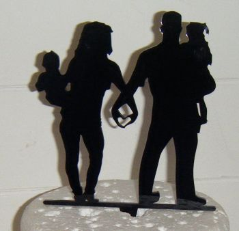 Wedding couple family Silhouette Cake Topper