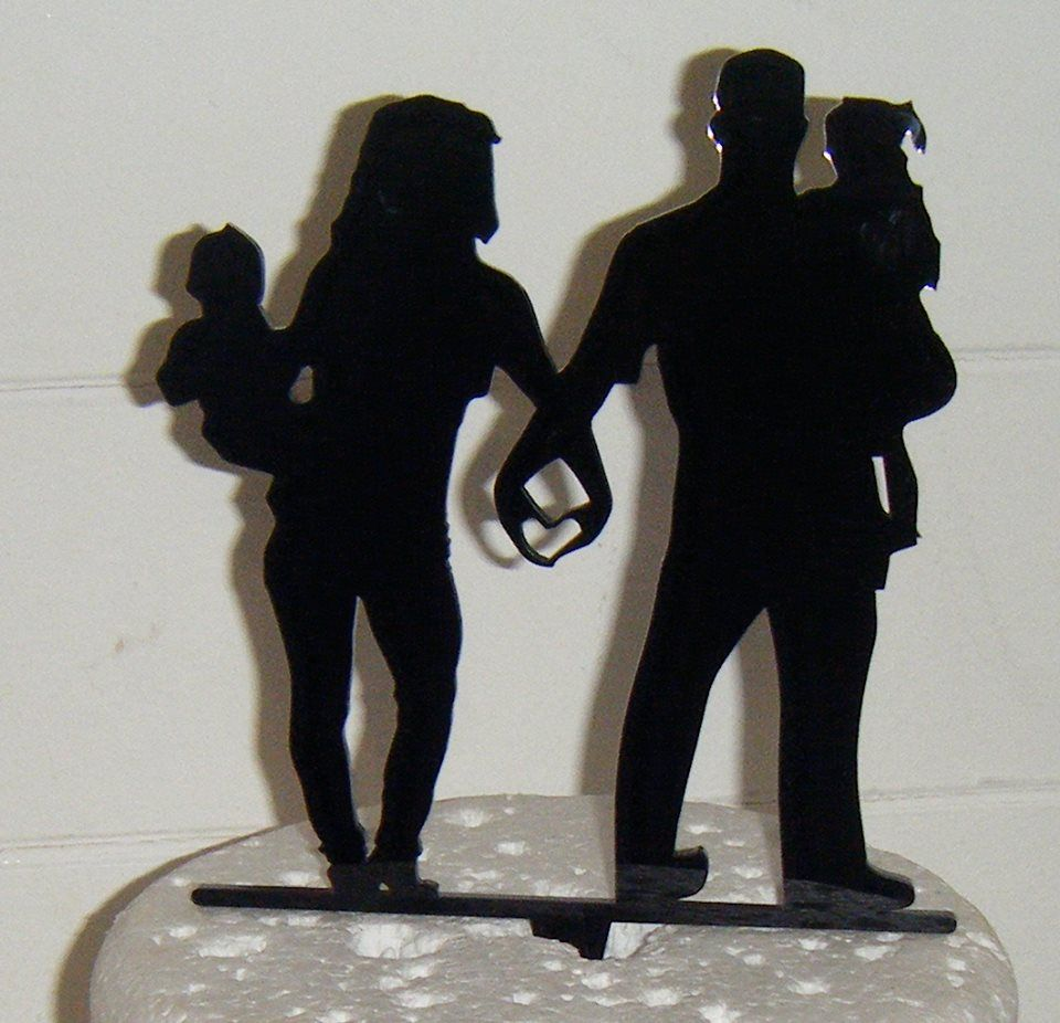 Wedding couple family Silhouette Cake Topper