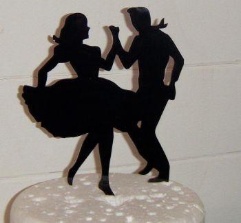 Jive Dancers Silhouette Cake Topper