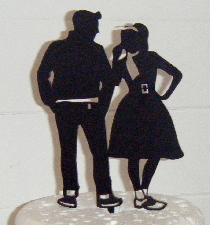 Grease 50's style couple Silhouette Cake Topper