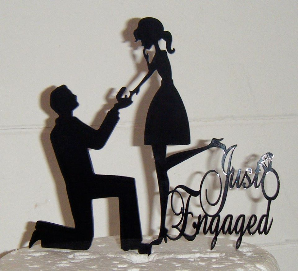 Just engaged Silhouette Cake Topper