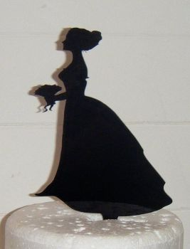 Bride woman Silhouette Cake Topper  Bridal shower