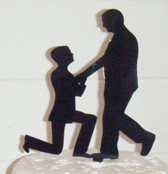 Gay Proposal Silhouette Cake Topper