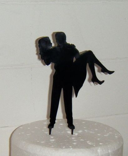 Man holding woman Silhouette Cake Topper